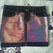 Юбка джинсовая пайетки