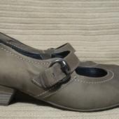 Элегантные кожаные туфли цвета хаки в стиле Мери Джейн. Ara. Германия.