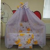 Gold  9 в 1 Комплект постельного белья в кроватку фиолетовое Мишки горох