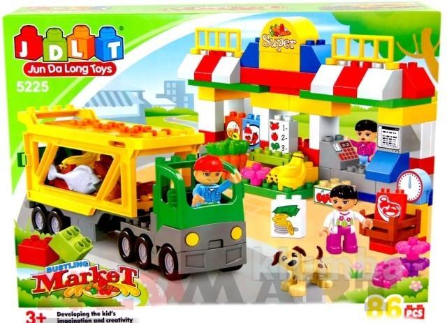Конструктор jdlt 5225 базар, магазин, крупные детали, ждлт фото №1