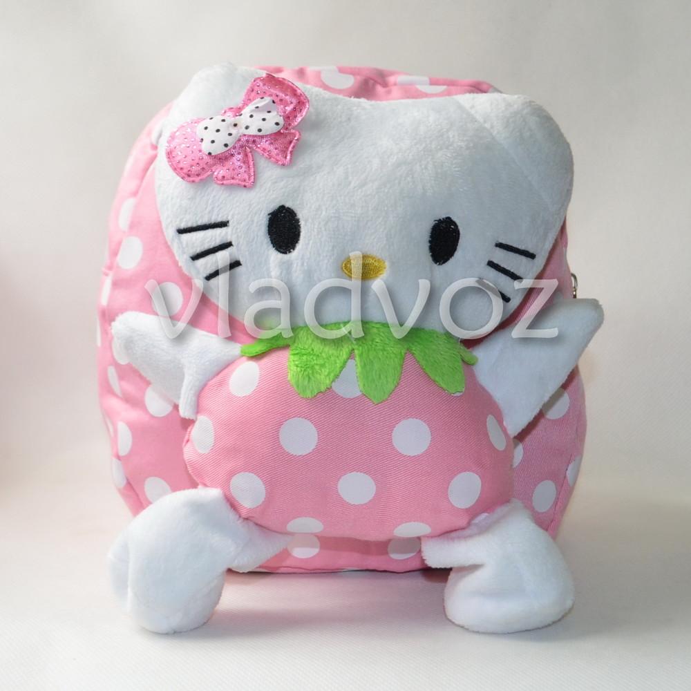 Детский рюкзак с плюшевой игрушкой китти розовый фото №1