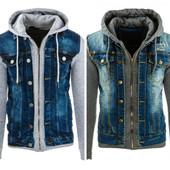Мужская стильная куртка джинсовая с капюшоном