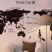 Виниловые наклейки на стену, интерьерные наклейки на стену, карта путешественника, наклейка карта