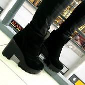 Ботинки зимние на тракторной подошве.Замш/кожа.Новинка