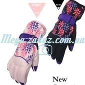 Перчатки горнолыжные/перчатки лыжные женские Flowers, 3 цвета: размер M