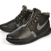 Ботинки кожаные на шерсти Nike Roshe Run Black размер 44