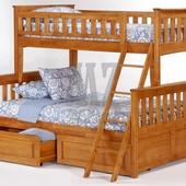 Двухъярусная кровать Жасмин (лак) + ящики + матрасы