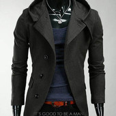 Стильное кашемировое пальто - тренч с капюшоном Gray