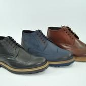 Кожаные мужские ботинки (утепленные)