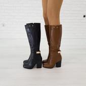Элегантные демисезонные кожаные сапоги на каблуке