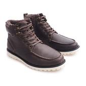 Теплые мужские коричневые ботинки из натуральной кожи