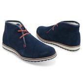 Теплые замшевые ботинки темно-синего цвета