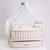 Детская кроватка Детский Сон с маятником и ящиком слоновая кость