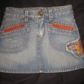 джинсовая мини юбка Zara на 5-7 лет, вышивка