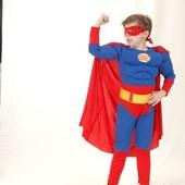 Костюм Супермен (комбинезон, жилет с мышцами, маска, плащ)