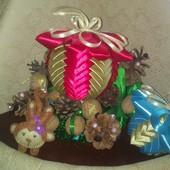 Новогодние игрушки-шар, ручная работа, диаметр 8-9 см и 11-12 см