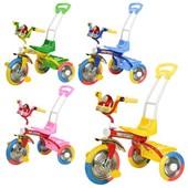 Детский трехколесный велосипед Bambi, длинная ручка-толкатель