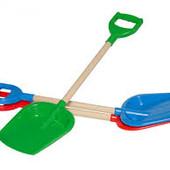 Лопатка для снега или песка большая с деревяной ручкой