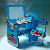 Детская парта Тачки W 091 со стульчиком и доской для рисования