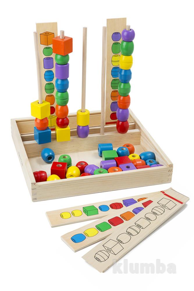 Развивающие игрушки из дерева, развивающий набор бусинок на штырях фото №1