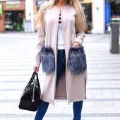 Стильное пальто с меховыми карманами! Разные цвета! Супер цена!