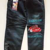 Теплые джинсы Тачки на мальчика 4 года