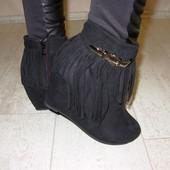 Ботинки замшевые бахрома черные Д432 р.36,37,38,39,40