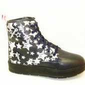 Ботинки зимние синие звезды С517
