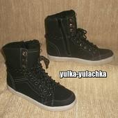 Стильные утепленные ботинки в спортивном стиле Хайтопы