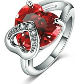 Ко дню святого Валентина! колечко со сверкающим цирконием в форме сердца и австрийскими кристалами.