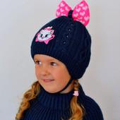 Зимняя шапка для девочек на 3-6 лет