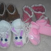 Вязанные пинеточки на девочку 0-6 месяцев