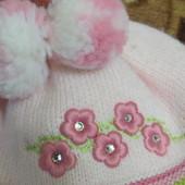 Шапка зимняя теплая с шарфиком на девочку до 1 года