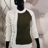 Белый свитер реглан с жемчугом