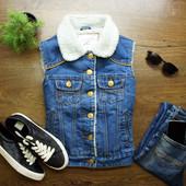 xs-s 174 Крутая джинсовая жилетка на меху от Denim!0407