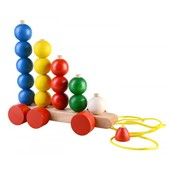 Деревянная каталка пирамидка счет шарики Руди Ду-10 Дерево