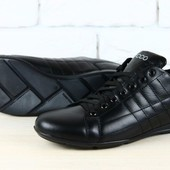спортивные туфли черные кожаные
