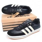 Кроссовки мужские Adidas замш черные на шнуровке