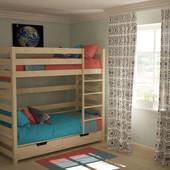Кроватка из бука - натуральное дерево, двухъярусная+дополнительные ящики Гарантия! Цвет-натуральный!