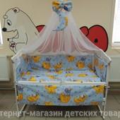 """5 расцветки! 9 в 1 - постельное белье для детской кроватки """"Мишки-горох"""""""