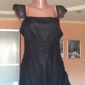 Черное вечернее платье с гипюром,р-р 38