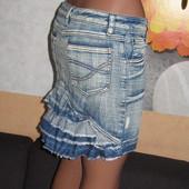 Юбка джинс с рюшкой,р.М