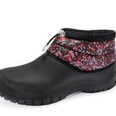 Женские ботинки-дутики.Черные с расцветками верх 36~41р.
