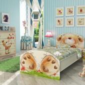 Гарантия 2 года! Кровать Мишка с букетом 90х190 см с фотопечатью, укр. производитель