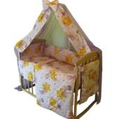 Натуральное детское постельное белье в кроватку 8 предметов