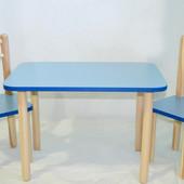 Голубой стол с стульями для мальчика