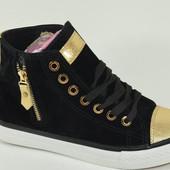 Ботинки женские черные с золотом Д445 р.36,37,38,39,40