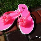 Вьетнамки силиконовые розовые, бежевые, синие цветок. Польша