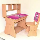 Парта регулируется в 3 высотах и стол и стул - цвета разные, столешница подымается