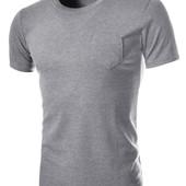 Классическая футболка с карманом х/б серая